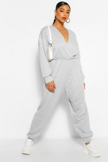 Grey Plus Wrap Over Loopback Sweat Jumpsuit