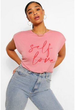 Blush pink Plus Shoulderpad Self Love Graphic T-Shirt