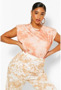 Terracotta Plus Shoulderpad Tie Dye T-Shirt