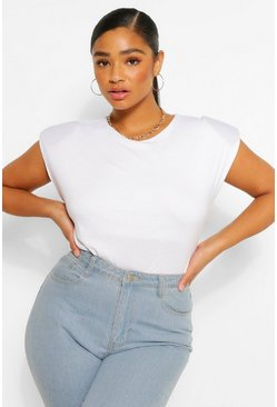 White Plus Shoulderpad T-Shirt