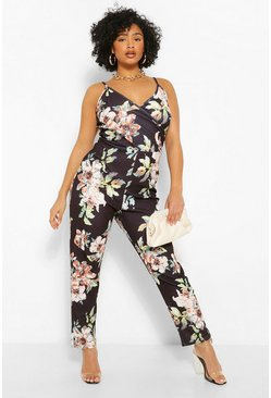 Black Plus Floral Wrap Jumpsuit