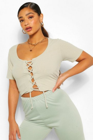 Sage green Plus Rib Knit Lace Up Cardigan