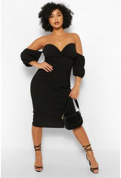 Black Plus Bardot Ruched Detal Midi Dress