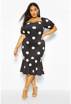 Black Plus Polka Dot Puff Sleeve Peplum Hem Midi Dress