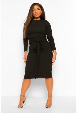 Black Plus High Neck Crepe Belted Midi Dress