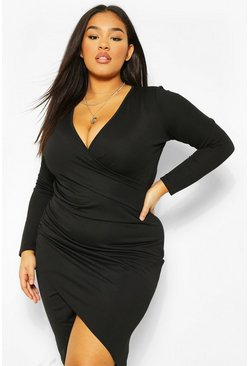 Black Plus Wrap Long Sleeve Midi Dress