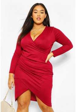 Wine red Plus Wrap Long Sleeve Midi Dress