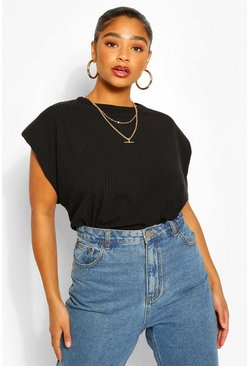 Black Plus Ribbed Shoulder Pad Tee
