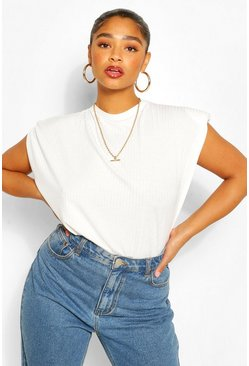 White Plus Ribbed Shoulder Pad Tee