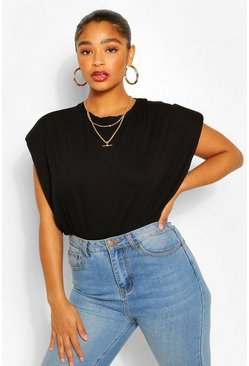 Black Plus Shoulder Pad T-Shirt