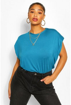 Teal Plus Shoulder Pad T-Shirt