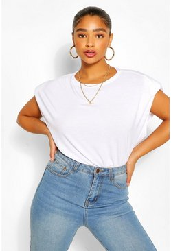 White Plus Shoulder Pad T-Shirt