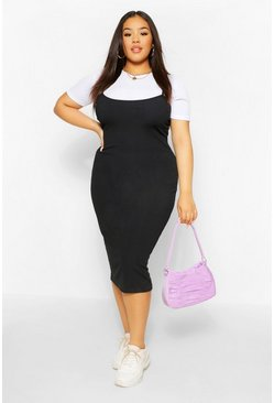 Black Plus 2 in 1 Jersey Pinafore Dress