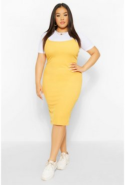 Mustard yellow Plus 2 in 1 Jersey Pinafore Dress