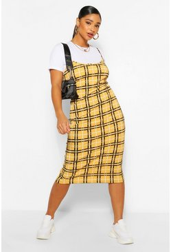 Mustard Plus Check Rib 2 in 1 Pinafore Dress