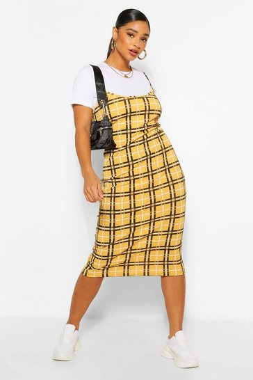 Mustard yellow Plus Check Rib 2 in 1 Pinafore Dress