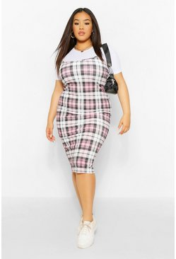Pink Plus 2 in1 Rib Check Pinafore Dress