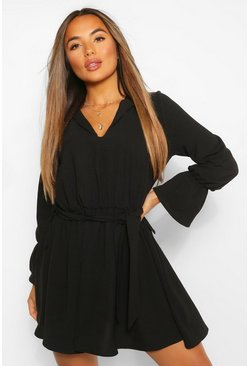 Black Petite Volume Sleeve Linen Look Skater Dress