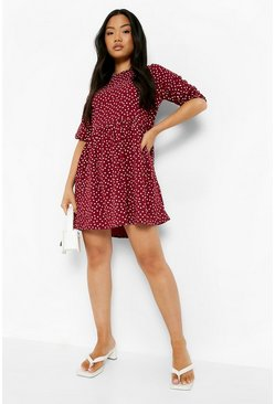Berry red Petite Polka Dot Woven Smock Dress