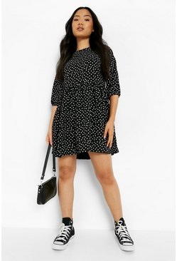 Black Petite Polka Dot Woven Smock Dress