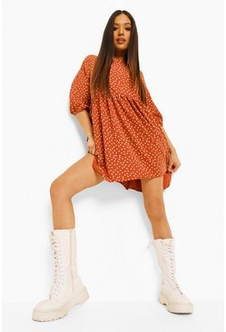 Rust orange Petite Polka Dot Woven Smock Dress