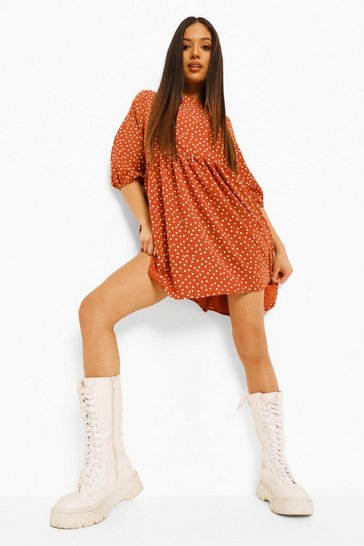 Rust orange Petite Polka Dot Woven Smock Dress