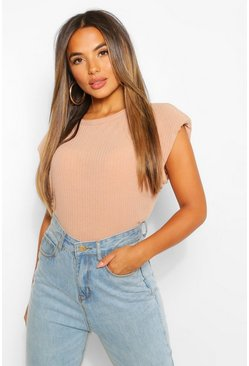 Camel Petite Ribbed Shoulder Pad T-Shirt