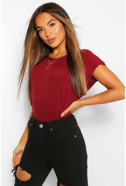 Berry red Petite Shoulder Pad T-Shirt