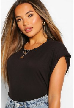 Black Petite Shoulder Pad T-Shirt