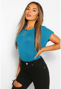 Teal green Petite Shoulder Pad T-Shirt