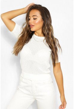 Ivory white Petite Lace Knit Puff Sleeve Jumper