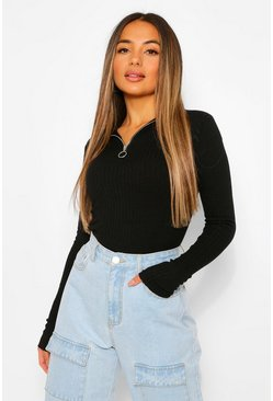 Black Petite Knitted Rib Scallop Edge Zip Up Jumper