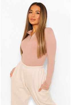 Petite Knitted Rib Scallop Edge Zip Up Jumper, Dusty pink