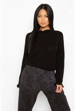 Black Petite Knitted Frill Cuff and Neck Jumper