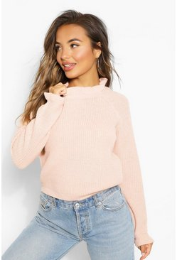 Blush pink Petite Knitted Frill Cuff and Neck Jumper