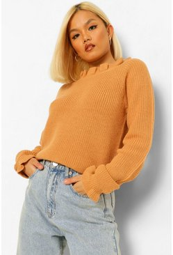 Camel beige Petite Knitted Frill Cuff and Neck Jumper