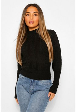 Petite Balloon Sleeve Cable Knit Roll Neck Jumper, Black negro