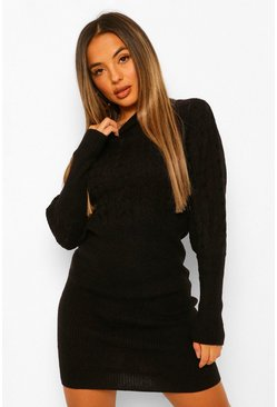 Black Petite Cable Knit Balloon Sleeve Knitted Dress