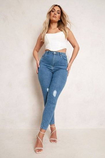 Mid blue blue Plus High Waist Distressed Skinny Jean