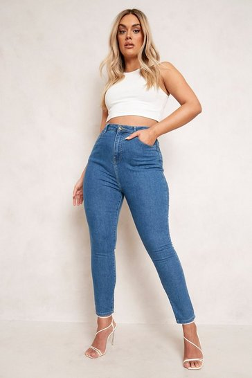 Mid blue blue Plus 5 Pocket Stretch Skinny Jeans