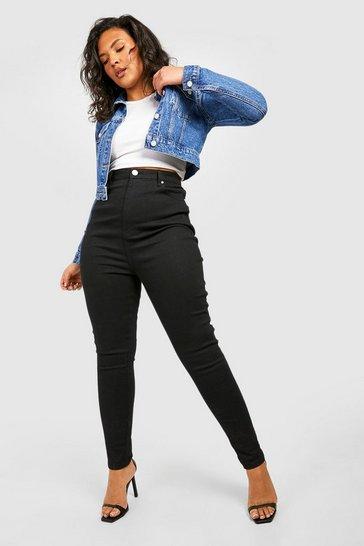 Black Plus 5 Pocket Stretch Skinny Jeans