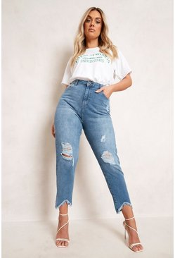 Mid blue blue Plus Ripped Distressed High Waist Mom Jean