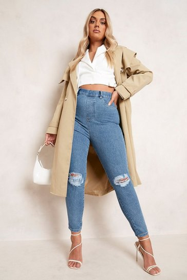 Mid blue blue Plus Rip Knee Skinny Jegging