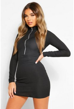 Black Petite Long Sleeve Zip Through Mini Dress