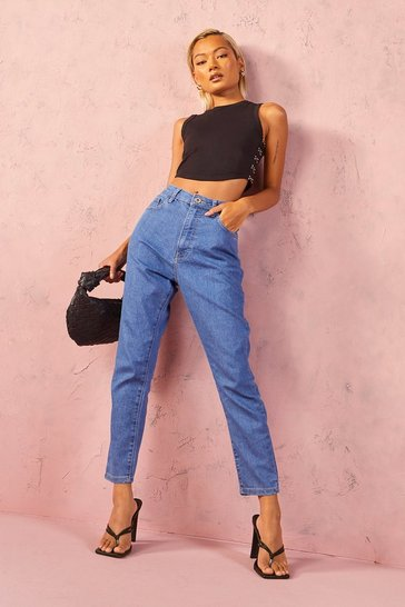 Mid blue blue Petite High Rise Skinny Jeans