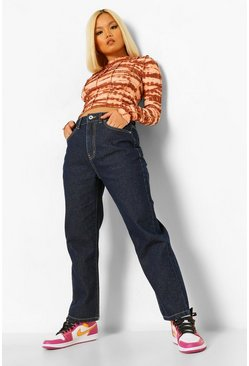 Dark blue blue Petite High Rise Straight Leg Jeans