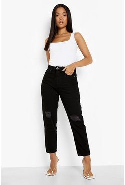 Black Petite High Rise Distressed Boyfriend Jeans