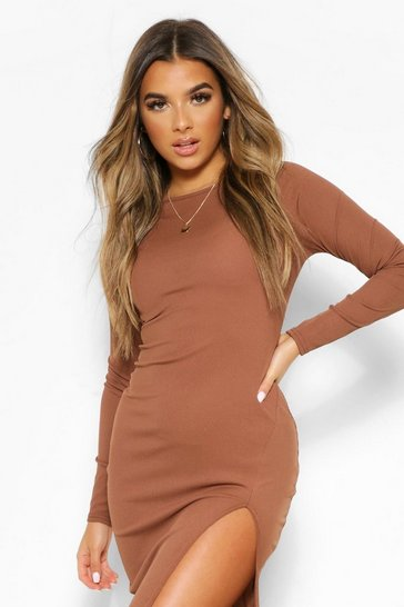 Chocolate brown Petite Long Sleeve Split Detail Rib Midi Dress