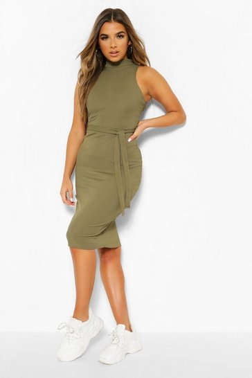 Khaki Petite Sleeveless High Neck Belted Midi Dress