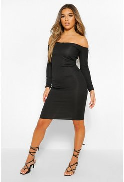 Black Petite Rib Off Shoulder Long Sleeve Midi Dress